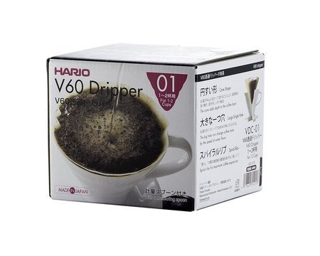 PLASTIC DRIP V60-01 HARIO WHITE ON 1 CUP