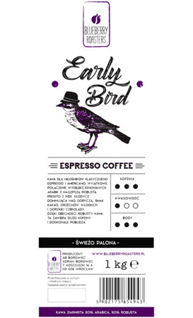 EARLY BIRD ESPRESSO COFFEE 1KG FOR ESPRESSO AND AMERICANO
